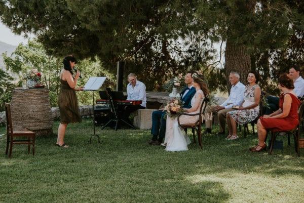 Blick auf die Trauungszeremonie während ich die Hochzeitsrede halte.