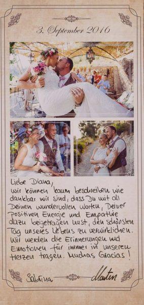 Diese schöne Eine wundervolle Dankeskarte mit Fotos, welche ich von dem Brautpaar erhalten habe.