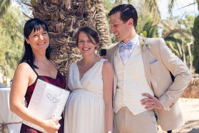 Ein Gruppenbild mit mir und Jesse und Pascal, dem Brautpaar.