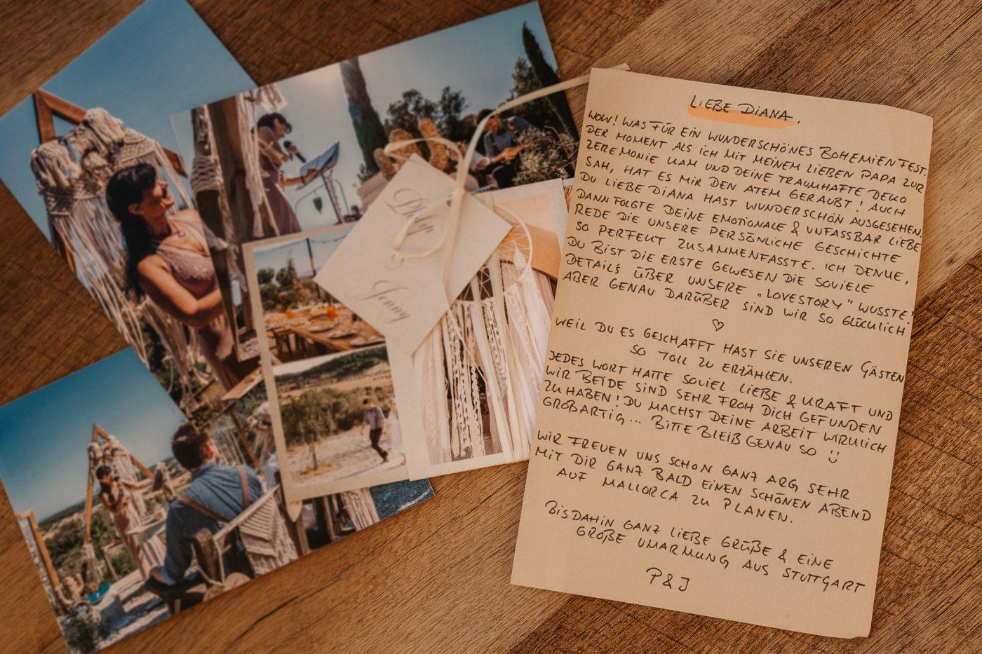 Dankesbrief der Mallorca Boho Braut an mich